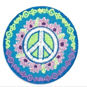 Accessories - Peace Sign Patch iron on Hippie flower DIY boho